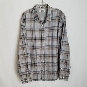 Penguin Mens Plaid Slim Fit Button Front Shirt 2XL